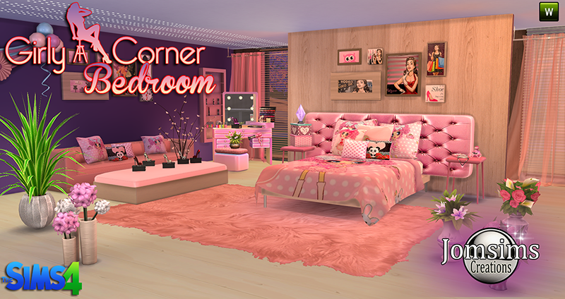 sims 4 cc 39 s the best girly corner bedroom set by jomsims. Black Bedroom Furniture Sets. Home Design Ideas