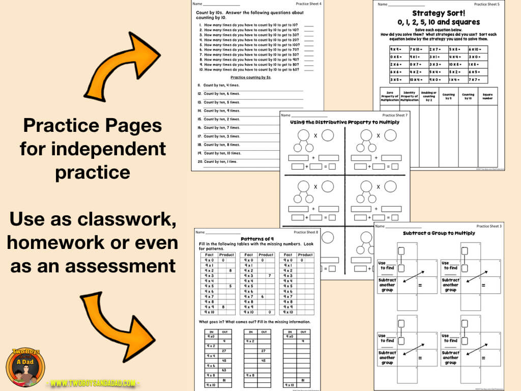 Multiplication Fact Fluency practice worksheets