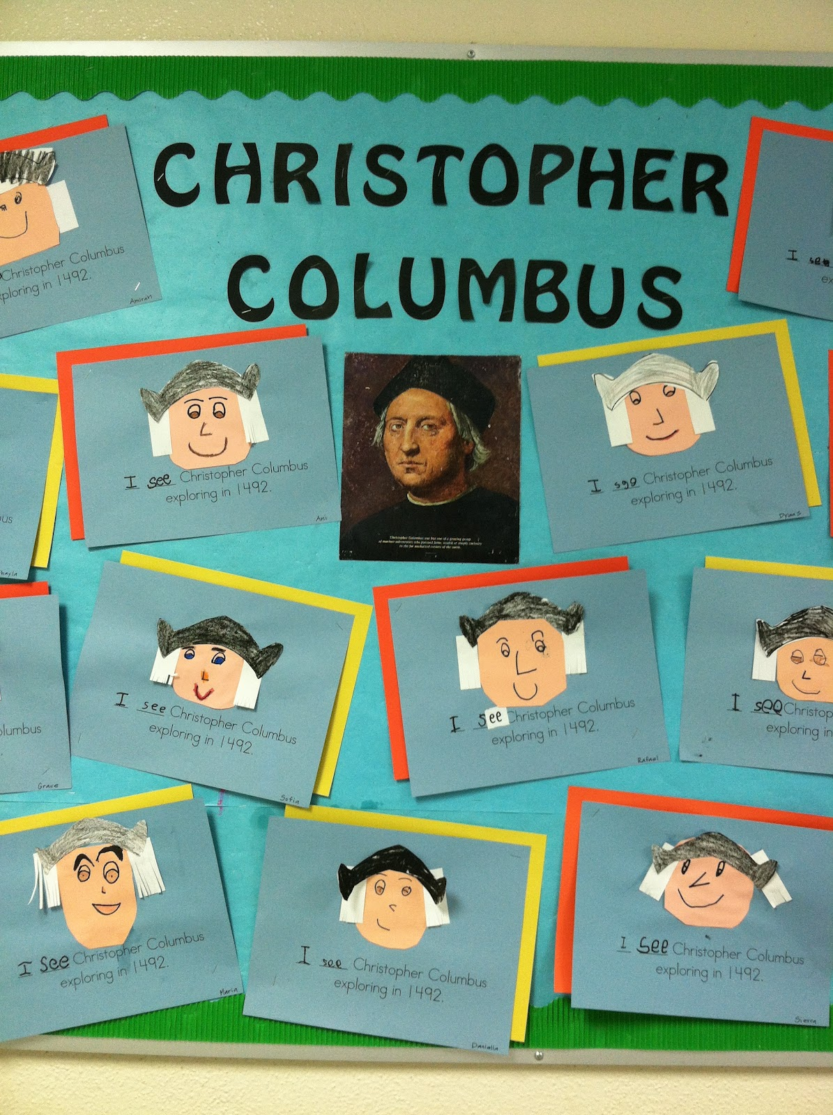 Kinder Learning Garden Columbus Day Bulletin Board