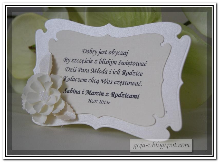 Zaawansowane goja: kolejne karteczki na kołacz weselny EX64