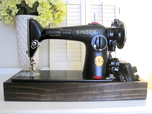 singer sewing machine wood base tutorial the project lady. Black Bedroom Furniture Sets. Home Design Ideas