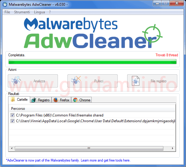Malwarebytes AdwCleaner interfaccia grafica