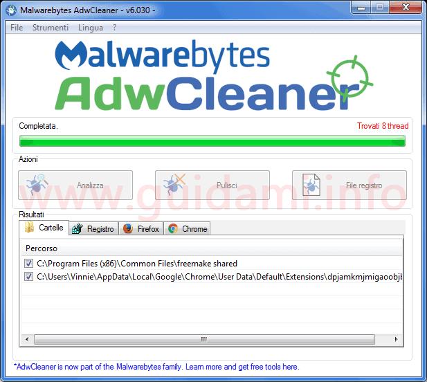 Malwarebytes AdwCleaner interfaccia grafica