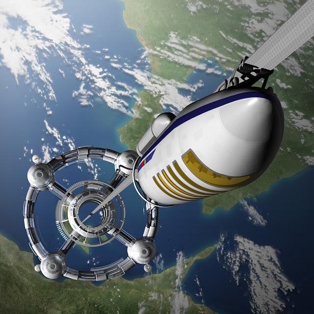 リアルイラスト、3DCG、宇宙、軌道エレベーター、地球、イラストレーター