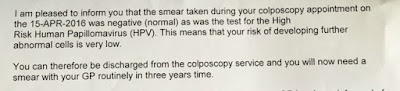 excerpt from typed letter saying smear and tests are clear