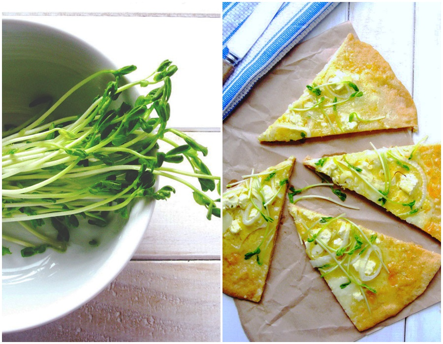 Pea Shoots Pizza , pizza, delicious, easy, Copyright aldentegourmet blog