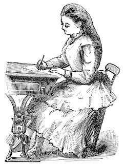 Black and white vintage drawing of a young woman sitting in a school desk writing.