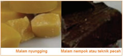 Malam nyungging Malam nempok atau teknik pecah - Bahan Produksi Batik