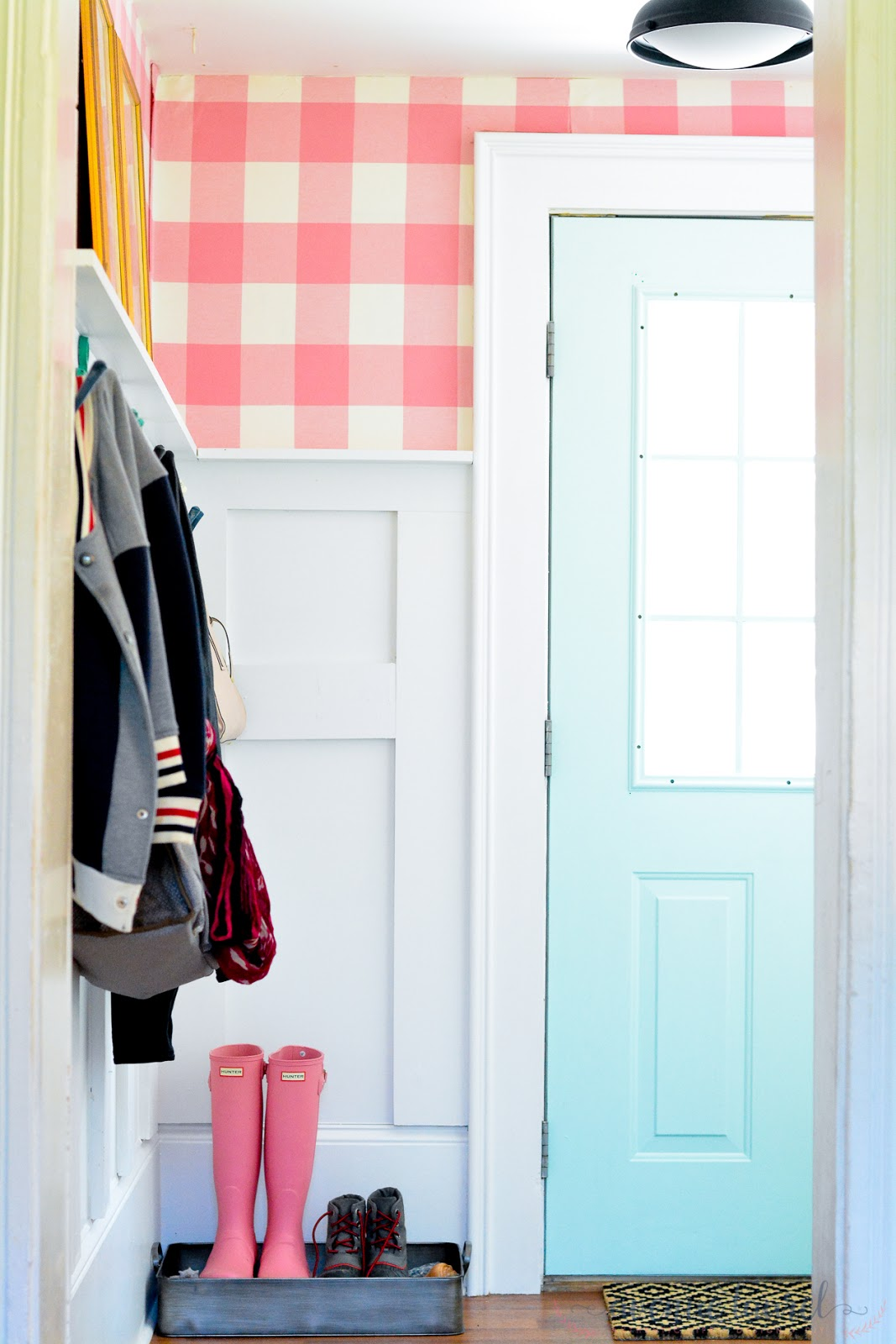 Mud room in fun pink and aqua