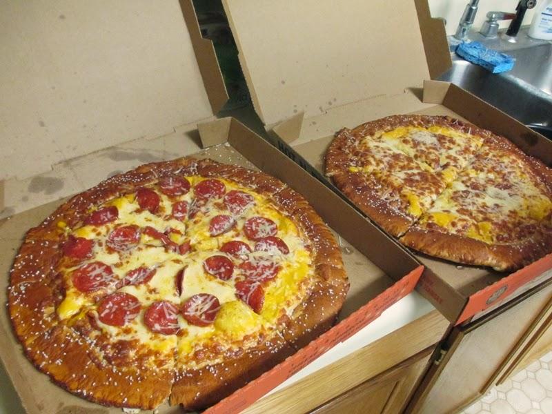 Cheese pretzel crust pizza and pepperoni pretzel crust pizza