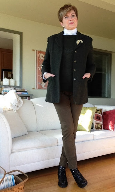 Max Mara jacket, VInce turtleneck, Prada sweater, Massiom Dutti cropped khaki pants, Stuart Weitzman boots, earrings Magpie Jewellry, vintage brooch