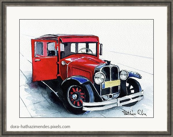 Classic Red Pontiac Car 1930. Watercolor painting by Dora Hathazi Mendes