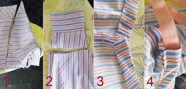 Διπλώνουμε το πουκάμισο κατα μήκος και κόβουμε ευθεία κάτω από τον γιακά  και λίγο πάνω από το μανίκι όπως φαίνεται στην φωτογραφία. 7077cd6e279