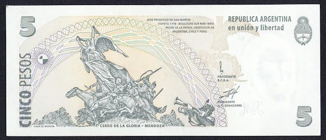 Argentina money currency 5 Pesos Convertibles banknote 1998 Andes Army Monument, Cerro de la Gloria