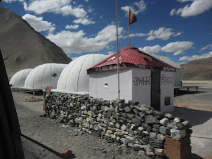 Military Igloo style houses in the high mountains en-route to Pangong Tso Lake.