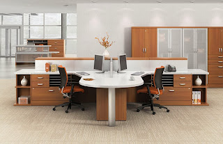 Contemporary Open Desking Configuration