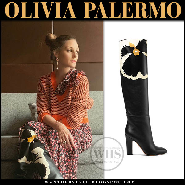 Olivia Palermo in orange sweater and black floral print Valentino knee boots winter outfit january 12