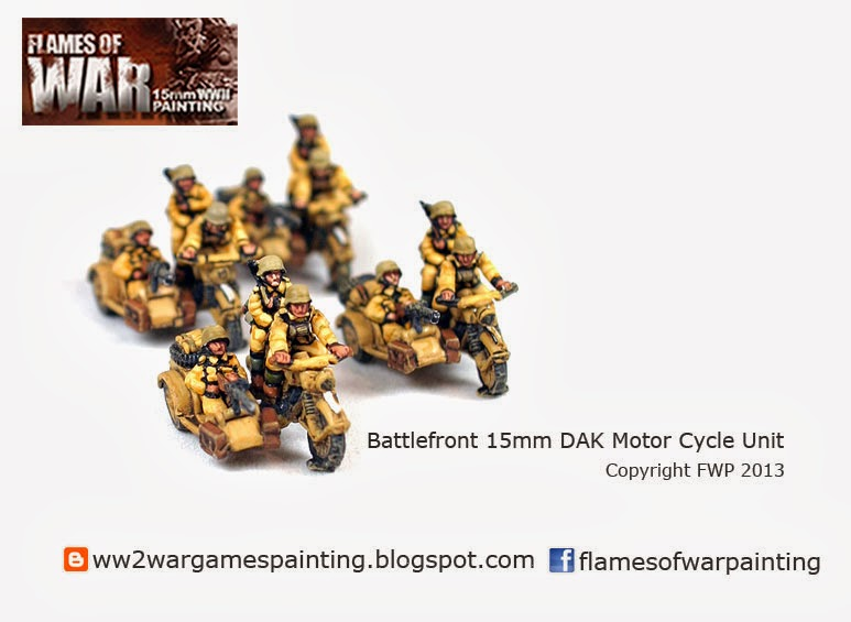WW2 Painted DAK Motorcycle Unit 15mm