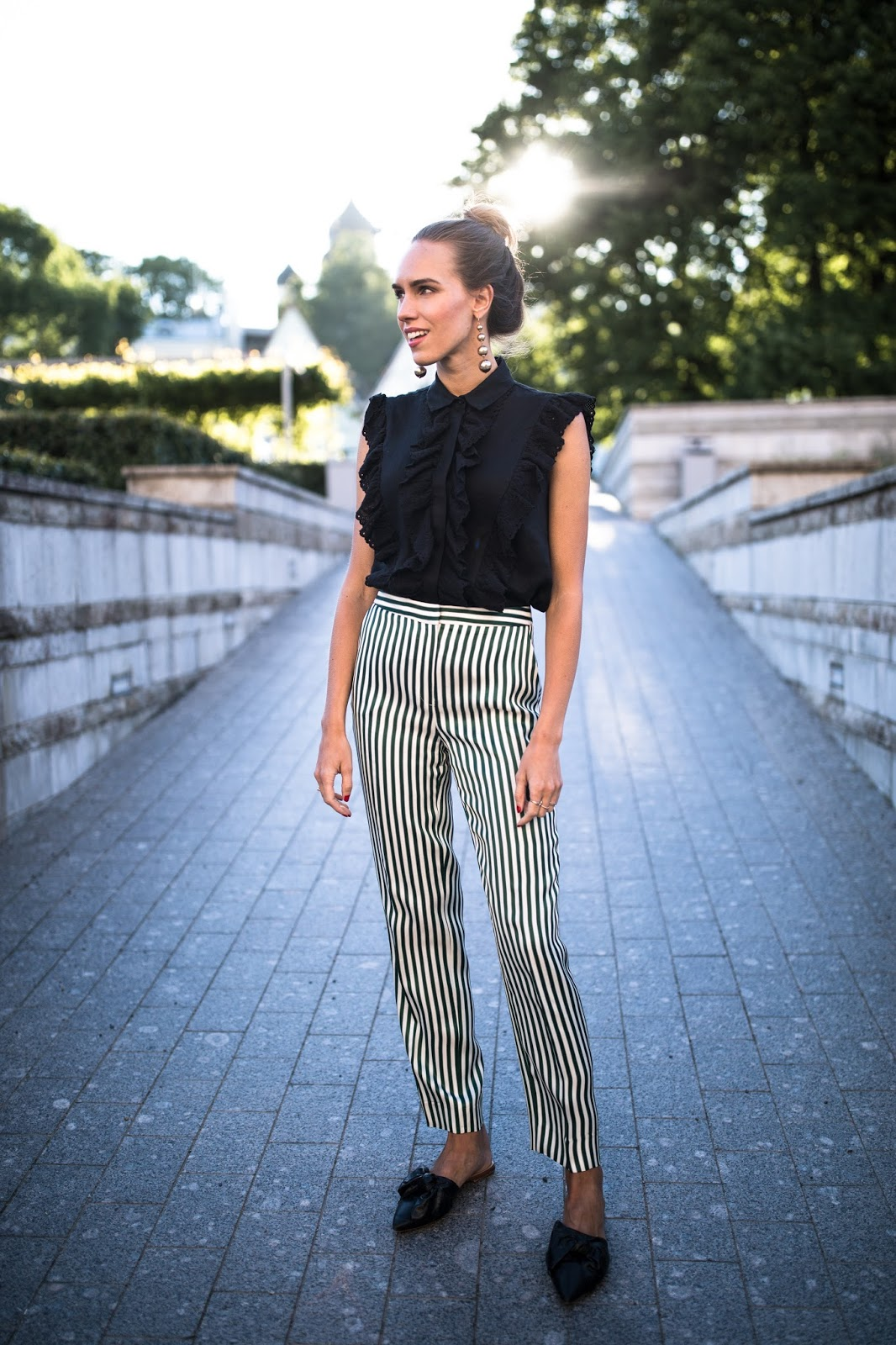 summer office outfit stripe trousers