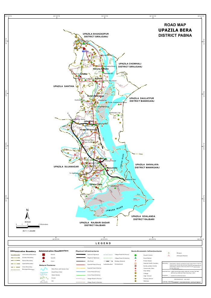 Bera Upazila Road Map Pabna District Bangladesh