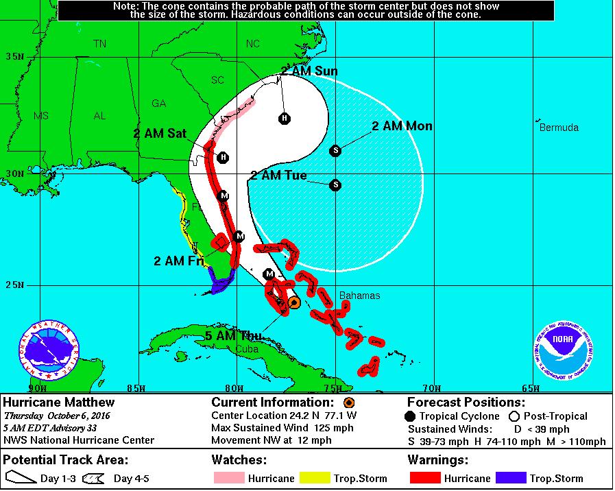 Hurricane Hal's Storm Surge Blog: Matthew to Strike Florida with