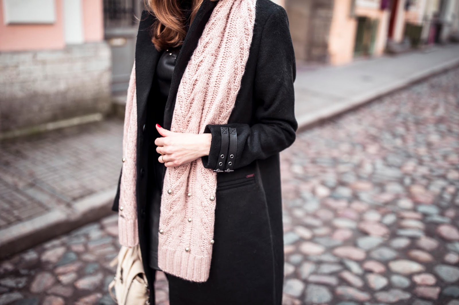 black coat pink scarf outfit fall
