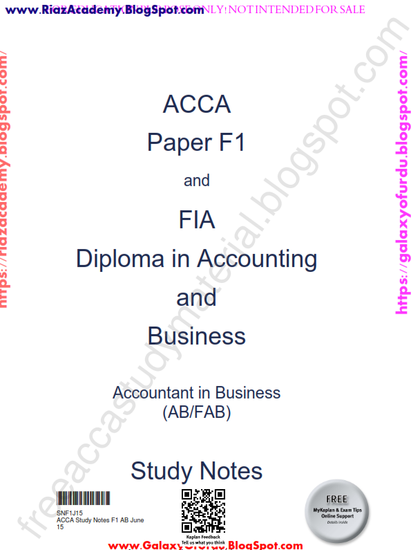 2015-ACCA-F1-STUDY NOTES - ACCOUNTANT IN BUSINESS-  by KAPLAN
