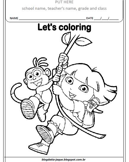 Atividades Prontas De Ingles Dora Aventureira Colorir