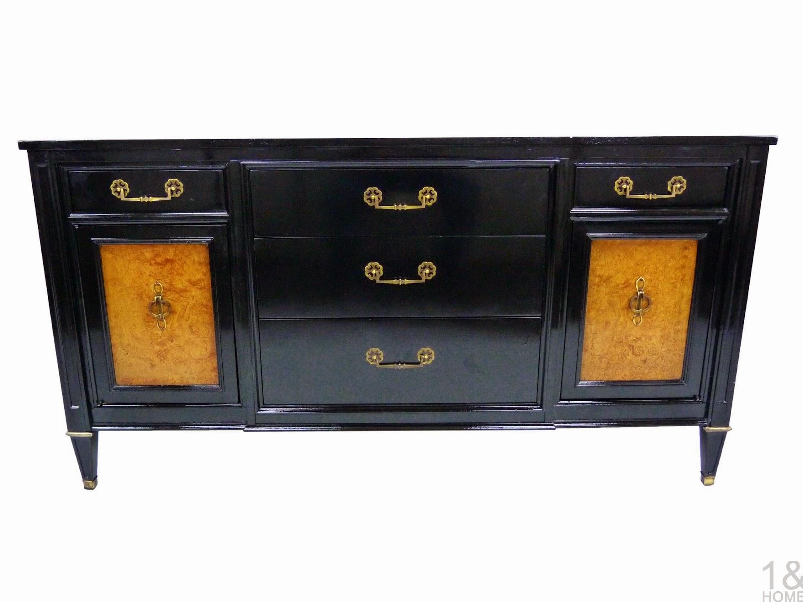 Ebonized and Burlwood Black Lacquered Century Furniture Credenza Sideboard