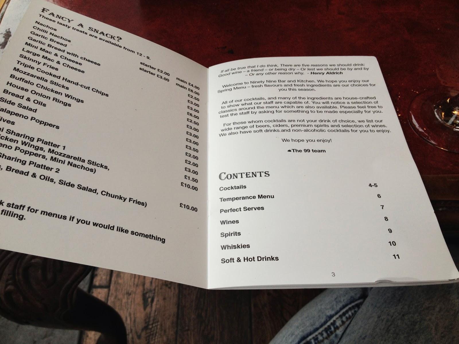 Ninety Nine Bar and Kitchen menu