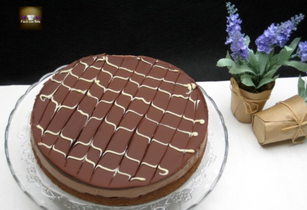tarta de queso y chocolate con doble de galleta