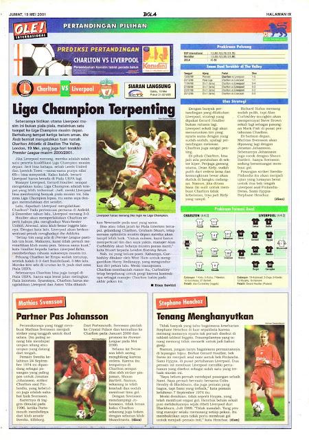 CHARLTON VS LIVERPOOL LIGA CHAMPION TERPENTING