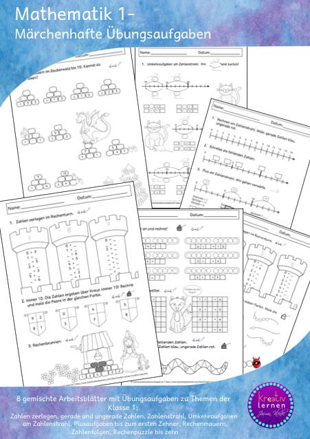 Drachenstübchen: Märchenhafte Mathe Arbeitsblätter für Klasse 1