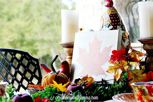 Autumn-decorating-dining-outdoor-apples-pumpkins-fall dishes-rooster-patio