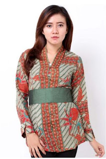 model baju batik kantor wanita kombinasi terbaru