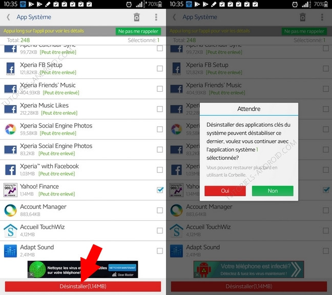 Désinstaller applis système Android