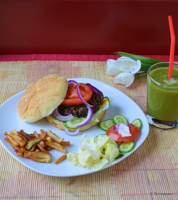 Vegan Lentil Burgers And Fries