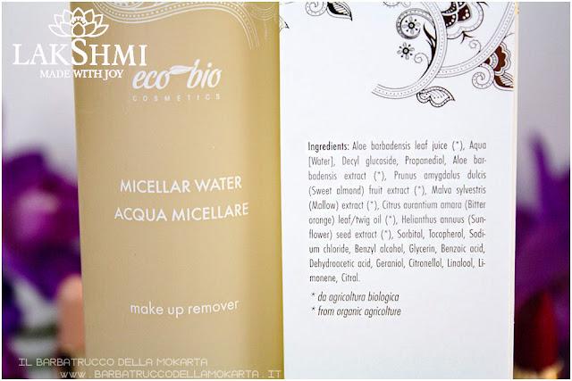 acqua micellare inci lakshmi makeup vegan ecobio