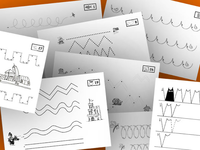 grundschule material arbeitsbl tter schwung bungen schreibschrift graphomotorische. Black Bedroom Furniture Sets. Home Design Ideas
