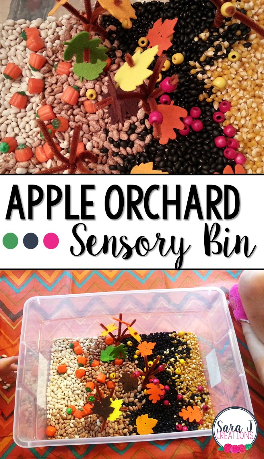 A fun fall sensory bin idea that is great fine motor practice for toddlers and preschool aged kids.