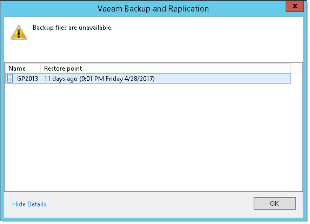 Resolving the Veeam