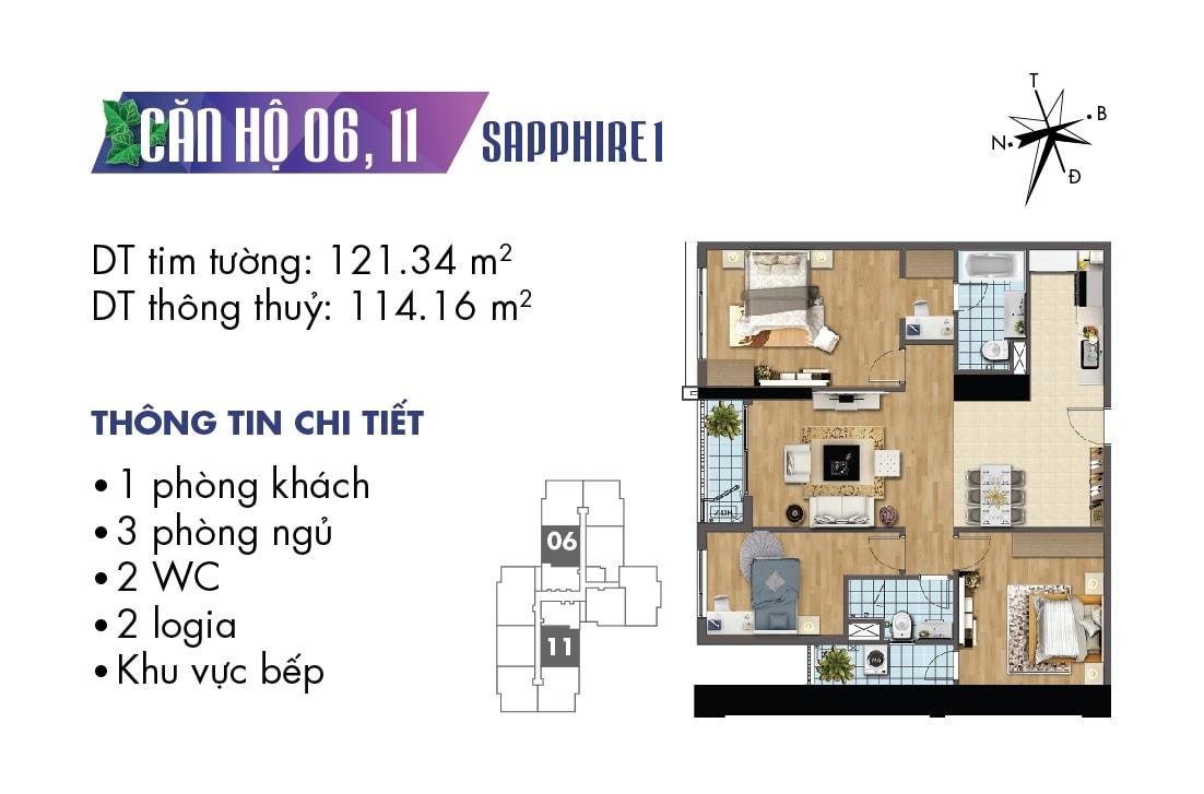 Mặt bằng căn hộ 06 và căn 11 tòa Sapphire 1