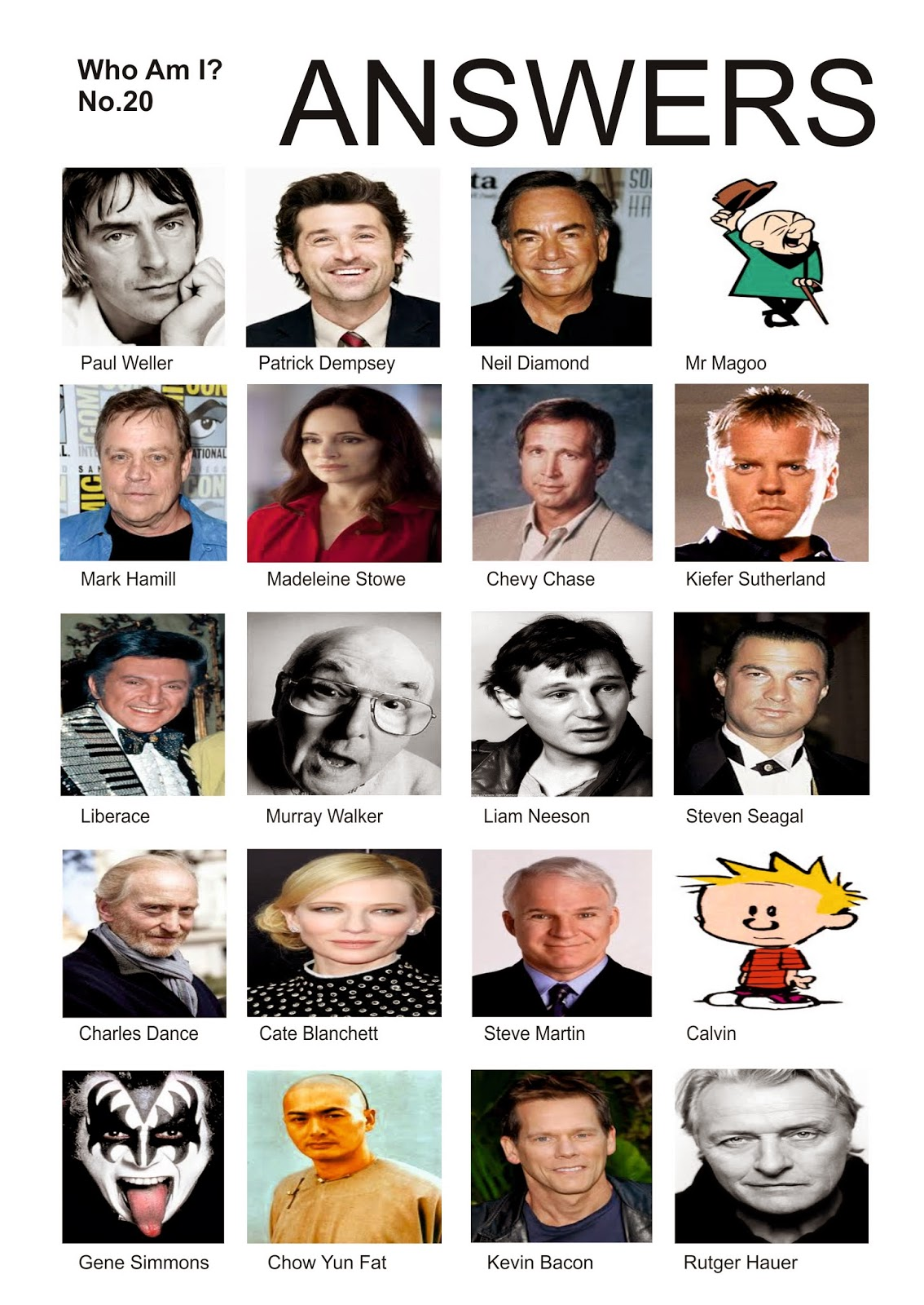 UK Celebrity Quiz Questions - Quiz Night Software