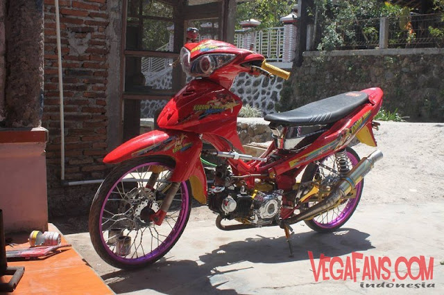 Jupiter Z Merah Modif Racing Velg Ungu