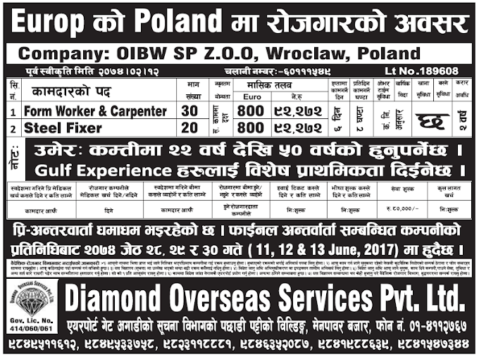 Jobs in Poland Europe for Nepali, Salary Rs 92,272