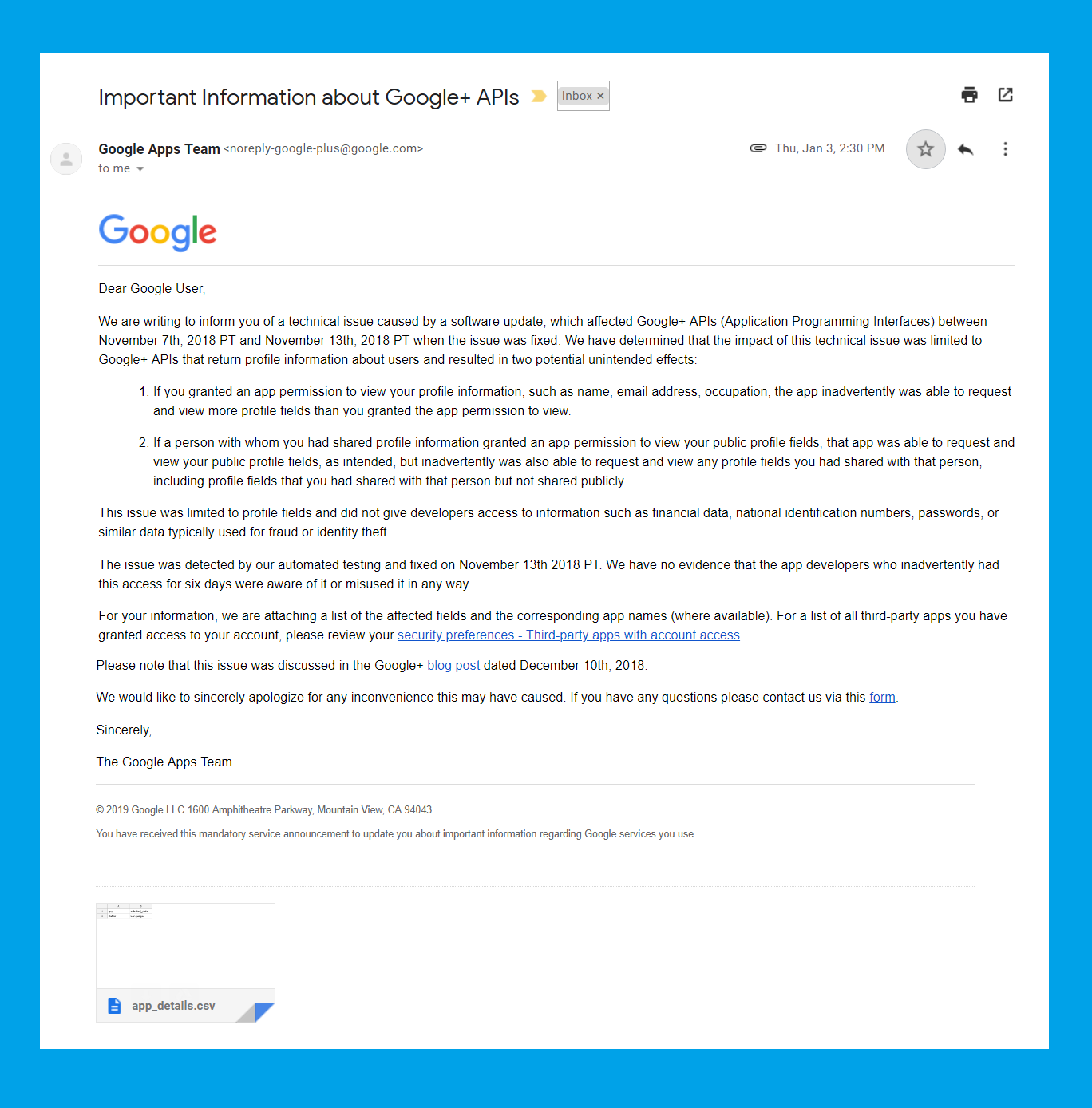 GooglePlus Data Breach: Ironically Affected Users Get Notified via (unpersonalized) Mails