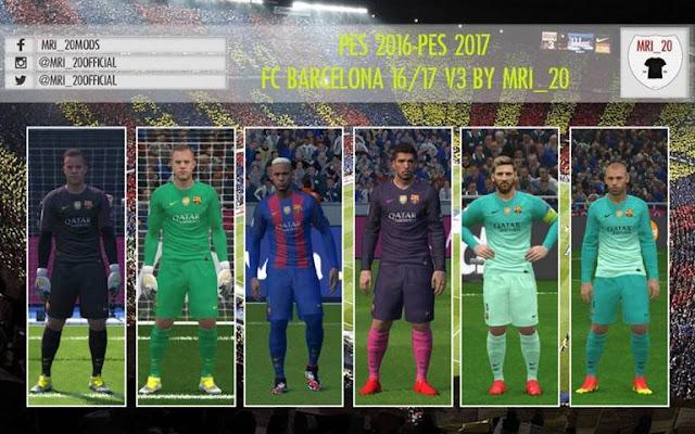 Barcelona Kits 2016-2017 Update V3 - PES 2016 & PES 2017