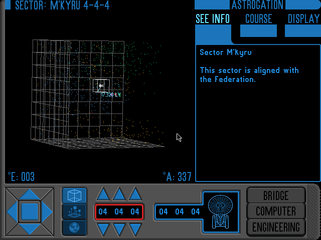 Star Trek A Final Unity Astrogation screen