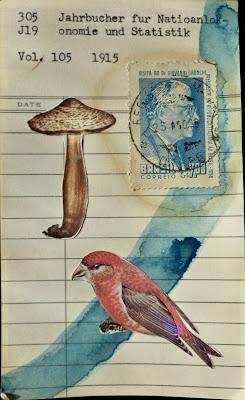 trinity Dada Fluxus Library card mail art mushroom postage stamp bird collage