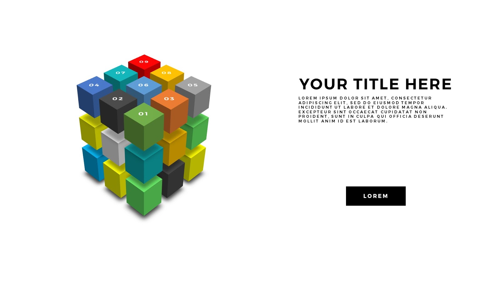 perspective 3d cube design elements for powerpoint template, Modern powerpoint